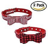 Newtensina Mode 2 Stück Fliege Hundehalsband Set Niedlich Streifen Fliege Hundehalsband and kariert Welpen Halsbänder für Katzen Hunde