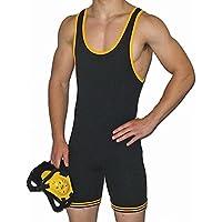 Matman 83 - Camiseta de nailon para lucha libre para adulto - 83 Adult Nylon Black/Gold XL, XL, Negro/Dorado
