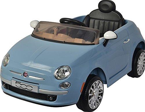 BABYCAR coche eléctrico para niños 12V Fiat 500Blue con mando a distancia y puertos abiertos