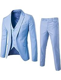 ZhuiKun Abito Uomo 3 Pezzi Vestito Completo Smoking Slim Fit Aderente con  Blazer f51582c6bf7