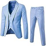 ZhuiKun Traje de 3 Piezas para Hombre con Chaqueta, Chaleco y Pantalones Azul Claro S