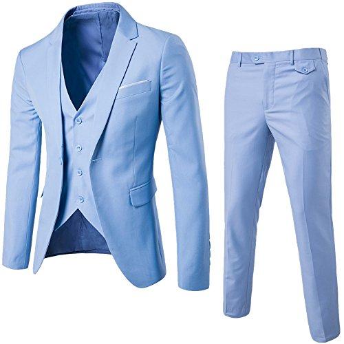 Abito uomo 3 pezzi vestito completo smoking slim fit aderente con blazer, pantaloni, gilet azzurro chiaro 2xl