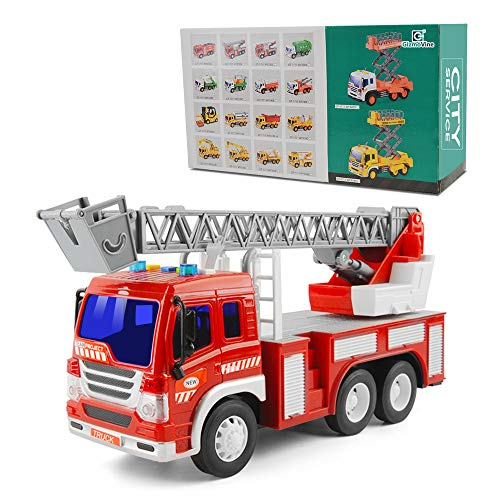 GizmoVine Spielzeugautos Reibung angetrieben Feuerwehrauto Maßstab 1/16 BauSpielzeug mit Lichtern und Tönen für Jungen und Mädchen (2019 Aktualisierte) -