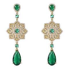 Idea Regalo - Orecchini pendenti con smeraldo Orecchini nuziali con diamanti Orecchini in oro giallo CZ con pietre preziose verdi
