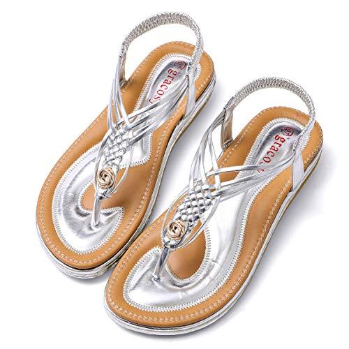 Gracosy sandali piatti infradito donna, scarpe estivi da spiaggia 2019 tacco bassi open toe sandali eleganti gioiello casual strass elastico anti scivolo grande blu beige nero argento