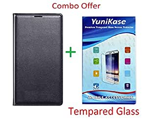 YuniKase (COMBO OFFER) for Moto G4 Play / Moto G Play, 4th Gen Leather Flip cover + Premium Tempered Glass screen Protector - (Black,Transperent)