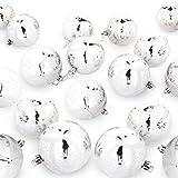By Robelli Luxus Bruchsicher Weihnachtsbaum Kugeln - 18 X 80mm Glitzer Designs - 18 X Silberne Schneeflocke