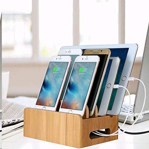 USB Ladestation, MaxTronic Bambus Organizer USB Ladedock Desktop Ständer Multi Geräte Organiser Ladestations Halter mit Einfache Kabelaufbewahrung und Magnetische Funktion, USB Ladegerät dachtes Design Schnelle Direkt Aufladen für Smartphorne Tablets und Laptops - Fall Motorola Razr