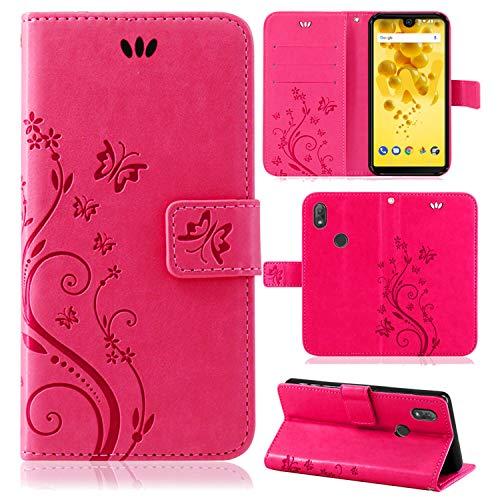 betterfon   Wiko View 2 Hülle Flower Case Handytasche Schutzhülle Blumen Klapptasche Handyhülle Handy Schale für Wiko View 2 Pink