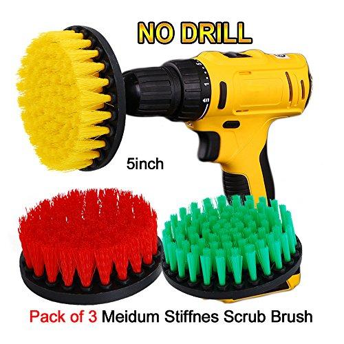 OxoxO Drill Brush - 5-Zoll-Bohrmaschine Attachment Scrubbing Stiffness Scrub Reinigungsbürste für die Reinigung von Badezimmeroberflächen Fliesenmörtel-Duschen