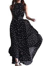 eleery Sexy Femmes Fashion à pois sans manches dos nu Boho Long Maxi robe d'été plage Soirée Cocktail Party robe d'été en mousseline avec ceinture pour femme