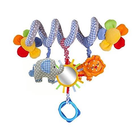 HOSIM Cute Elephant Lion miroir design avec musique Bell lit berceaux Pram Toy Musical berceau poussette Poussette envelopper jouet activité cadeau