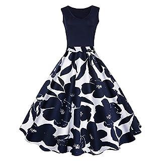 ANGGO 50er Vintage Retro Kleid Petticoat Faltenrock Floral Blumendruck Weste Kleider V-Ausschnitt Ärmelloses Abendkleid (Blau und Weiß, L)