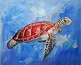 Fasdi-ART ölgemälde auf leinwand Handgemalt 100% Handgemalt Bilder abstrakt Kunst Dekoration Rahmen-Kunst Bild Tiere Meer schildkröte Holz Figur