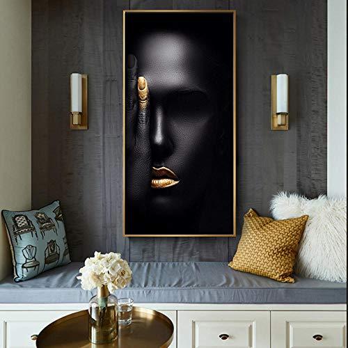 xwwnzdq Abstrakte Schwarze Frau Gesicht Porträt Leinwand Malerei Poster und Drucke skandinavischen Wandkunst Bild für Wohnzimmer - Abstrakte Frau Gesicht