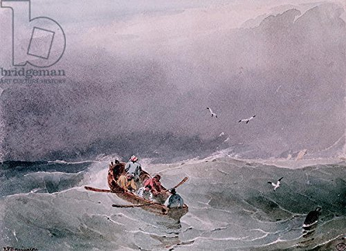 "Alu-Dibond-Bild 30 x 20 cm: ""Seascape (w/c on paper)"", Bild auf Alu-Dibond"