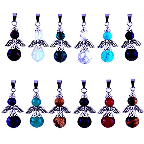 12pcs Gems Angles Healing Pointed Chakra Rock Beads Pendants Round Ball Handmade Quartz Crystal Stone Beads Pendant for Necklace Jewelry Making