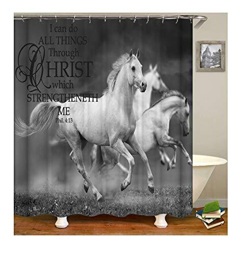 fende Pferde Duschvorhang Für Badewannen Polyester Bad Vorhang Badewannen Bunt 165X180Cm ()