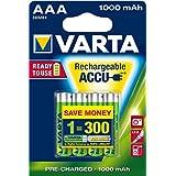 Varta ReadyToUse Rechargeable Accu AAA Micro Battery 1000 mAh Pack of 4