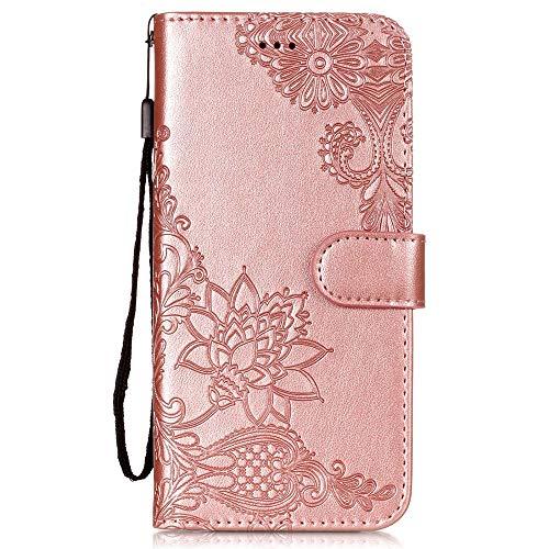 Vepbk für Xiaomi Redmi S2 Hülle, Handyhülle Leder Schutzhülle Handytasche Hülle mit Magnet Kunstleder Muster Flip Case Lederhülle Cover Klapphülle Etui Tasche für Xiaomi Redmi S2,Rose Gold