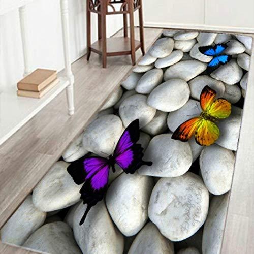 pengyu- Kopfsteinpflaster-Schmetterlings-Muster-Boden-Matten-Badezimmer-Rutschfester saugfähiger Teppich-Teppich 50 x 80 cm - Wissenschaft Duschvorhänge