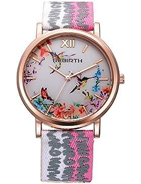 Mode Frauen Mädchen Uhren Blumen Wahl dünnen Gold Fall mit rosa Leinwand Lederband Roman Uhr stieg
