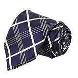 #8: Shewon Blue-Color White Check Formal Tie for Men – Premium Satin Necktie for Men