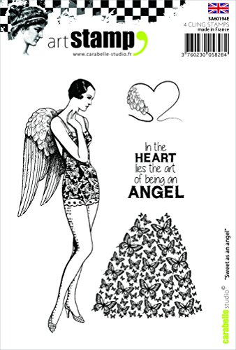 Carabelle Studio A6 Cling Stempel-Sweet as an Angel (English), Rubber, White transparent, 10 x 14 x 0.5 cm