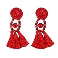 MSYOU 1 Pair Tassel Earrings Bohemian Dangle Ear Jewelry Pendant Ear Studs for Women Girl (Black)