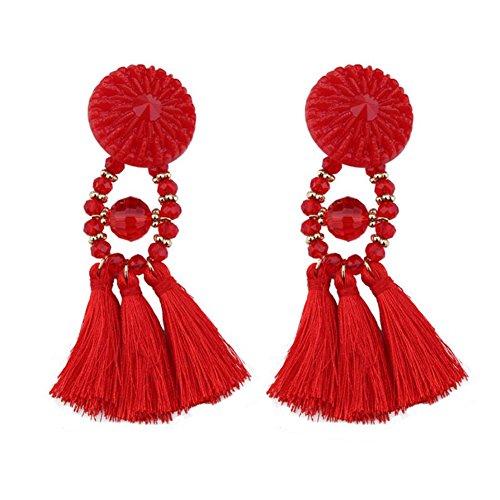 Qinlee Damen Ohrringe Retro Ethnisch Stil Ohrstecker Bunt Quasten Anhänger Ohrringe Mode Geschenk Elegant Schmuck Mädchen Ohr Nagel Ohrringe Ohr Accessoires Earrings (Rot)