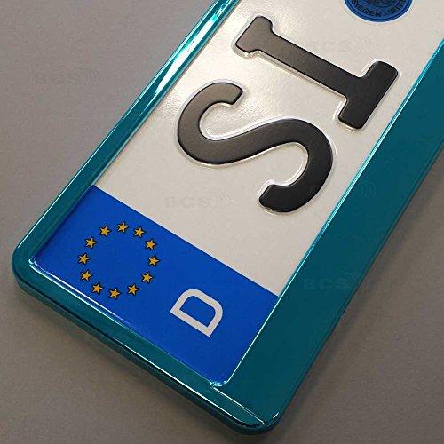 Preisvergleich Produktbild imex 2 Stück Kennzeichenhalter TÜRKIS Hochglanz metallic Optik Nummernschildhalter