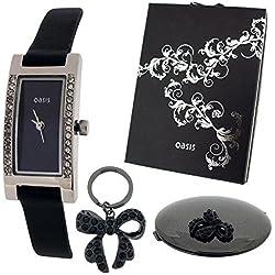 OASIS B634 Geschenkset mit analoger Uhr, Spiegel und Schleifen-Schlüsselanhänger