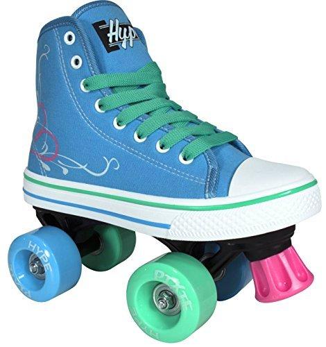 Lenexa Roller Skates für Mädchen Pixie Kid Quad Roller Skates mit hohen Spitzenschuh-Art für Indoor / Outdoor Skating | Langlebig, einfach zu Skate, für Kinder gemacht J12 Blau
