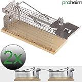 proheim Mause-Falle 15 cm 2er Sparset Lebend-Falle für Mäuse tierfreundliche Drahtkasten-Falle mit 1 Eingang hygienische Tierfalle