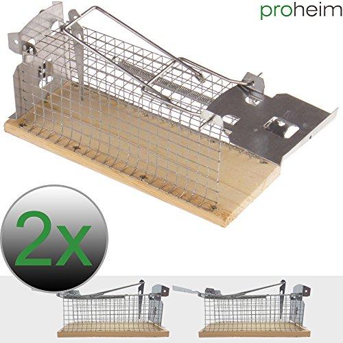 PROHEIM Mausefalle 15 cm Lebendfalle für Mäuse tierfreundliche Drahtkastenfalle mit 1 Eingang hygienische Tierfalle in günstigen Sparsets, Menge:2er Set