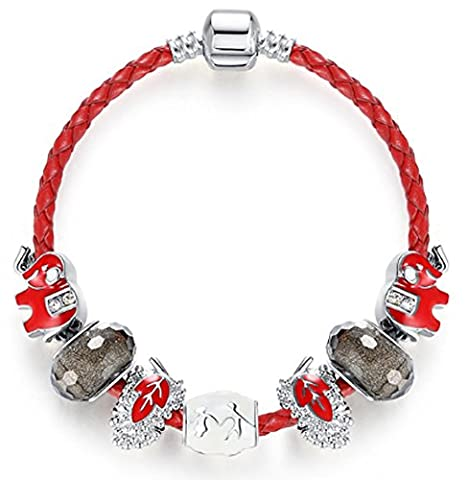 SaySure - Silver Plated Original Murano Glass Bead Charm Bracelet