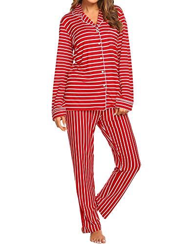 Klassische Kerbe-kragen (EKOUAER Damen Pyjamas Set Langarm Nachtw Button-Down-Nachtw Soft-Pj Lounge Sets Klein Red Striped)
