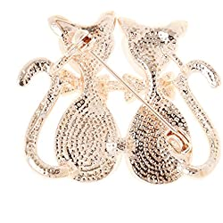 Broche Forma de Gato Lindo Vestido de Cristal Diamantes de Imitación Decoración Chica