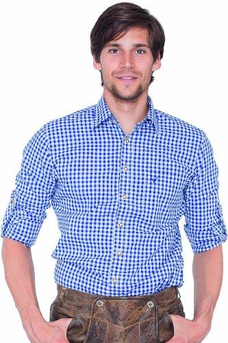Krüger BUAM Herren Slim Fit Trachtenhemd 951, Gr. Large, Mehrfarbig (blau/weiß 108)