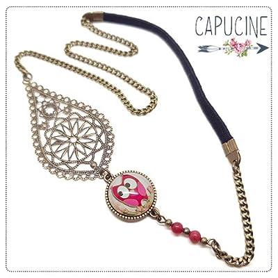Headband avec Cabochon Verre Hibou Chouette Rose Beige, Estampe et Chaîne Bronze, Accessoire Cheveux avec Élastique