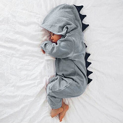 TTLOVE_Baby Jungen Mädchen Dinosaurier Hoodie Bodysuit Strampler, Kinder Overall ReißVerschlußKleidung Warme SüßE Spielanzug Herbst- Und Wintersaison Kleidung Sets (Grau,80 cm) (Herren Grau Batman Anzug Hoodie)