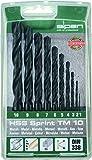 alpen HSS Sprint Spiralbohrer, kurz, DIN 338, Durchmesser 1-10 x 0,1 mm als 10-teiliger Satz in der Kunststoffkassette, 801092100