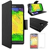 ebestStar - Compatible Coque Samsung Galaxy Note 3 Lite SM-N7505 Etui PU Cuir Housse Portefeuille Porte-Cartes Support Stand, Noir +Film Protection écran Verre Trempé [Appareil:148.4x77.4x8.6mm 5.5']