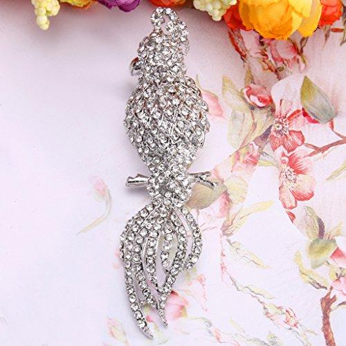 EVER FAITH® Full Cristal Autrichien Perroquet Oiseau Animal Broche Clip Clair, Argenté