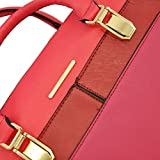 Red Colour Block Bowler Bag With Metal Buckle