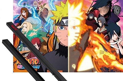 Póster + Soporte: Naruto Póster (91x61 cm) Naruto Shippuden, Split Y 1 Lote De 2 Varillas Negras 1art1®
