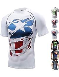 Khroom T-Shirt de Compression de Super-héros pour Homme   Vêtement Sportif à Séchage Rapide pour Fitness, Gym, Course, Musculation   Matériel Extensible et Ventilé Anti Transpiration   6 Modèles