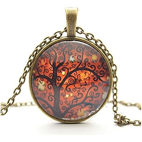 Vintage collana da donna, l' albero della vita gemma di vetro pendente con catenina lunga benedizione collane
