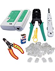 Inditrust Rj45 Rj11 Crimping, Multitec cutter, KD-1 Professional Punch Down Tool, Network Lan Cable Tester, 9V battery and 25 Pcs Connectors