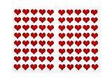 80 Stück 1,4 cm kleine rote Filz-Herzen Mini-Herzen Herz-Sticker Herz-Aufkleber - selbstklebend - stark klebend - basteln Tischkarten Tisch-Deko Hochzeit Geburtstag Weihnachts-Deko